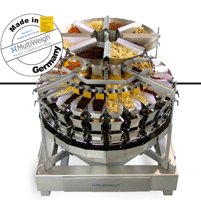 Multi head weighing machine used in food production for automated filling